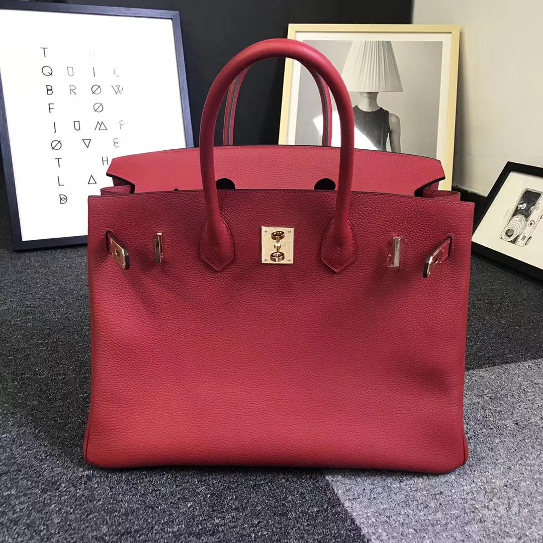 Hermès(爱马仕)Q5 中国红 原厂御用顶级小牛皮 Birkin 35 金扣 现货