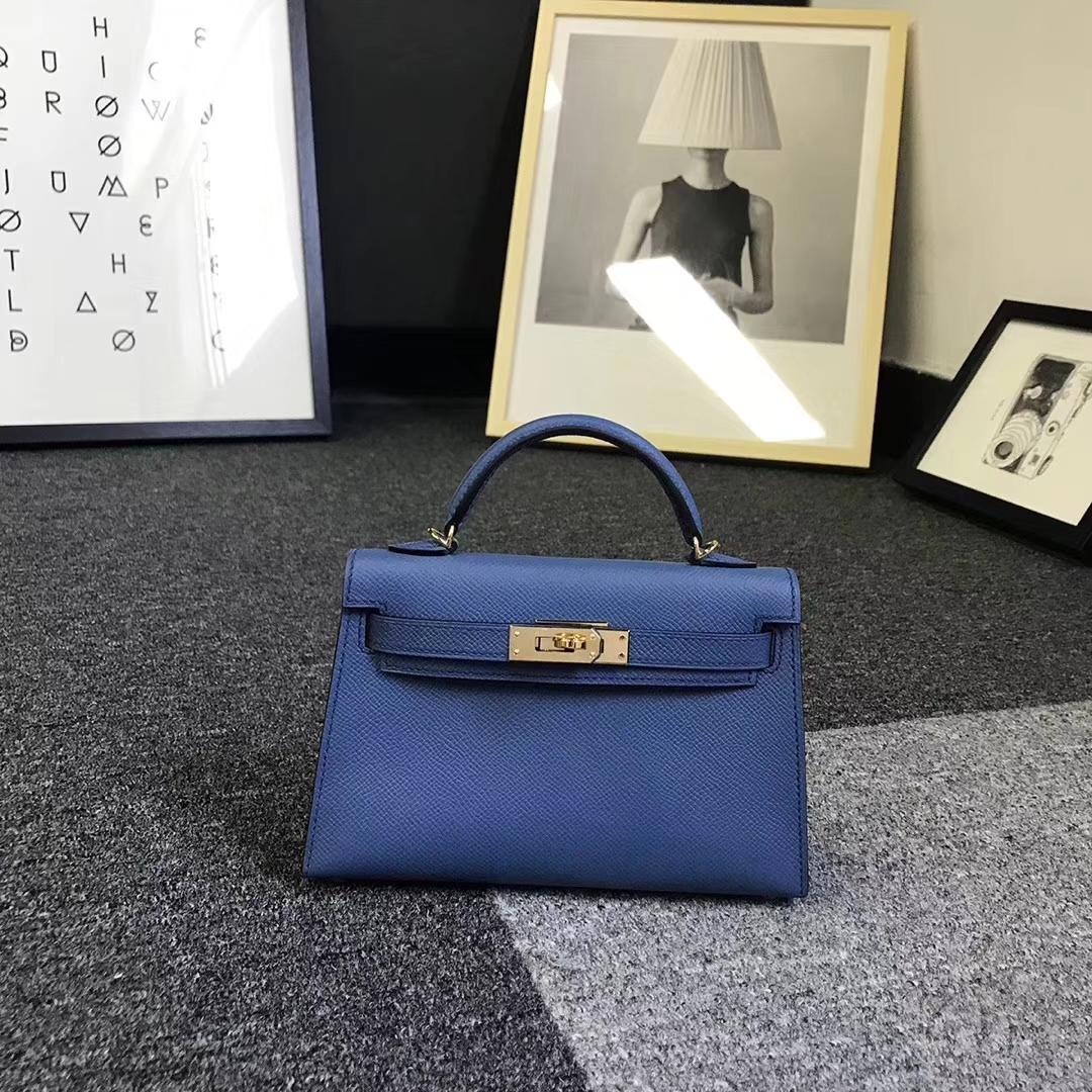 Hermès(爱马仕)R2 玛瑙蓝 原厂御用顶级Epsom 皮 Mini Kelly 二代 金扣