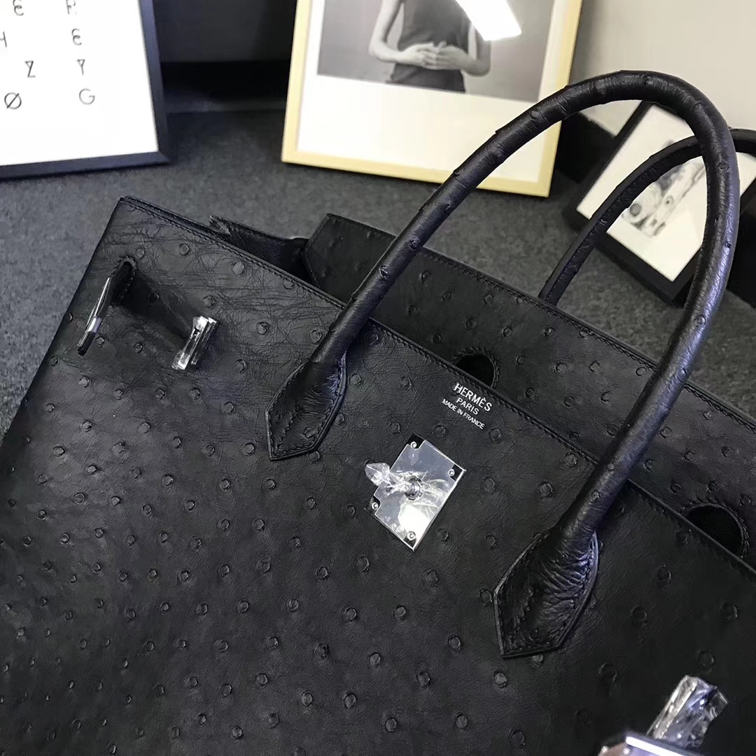 Hermès(爱马仕)黑色 原厂御用顶级鸵鸟皮 Birkin 40 金扣