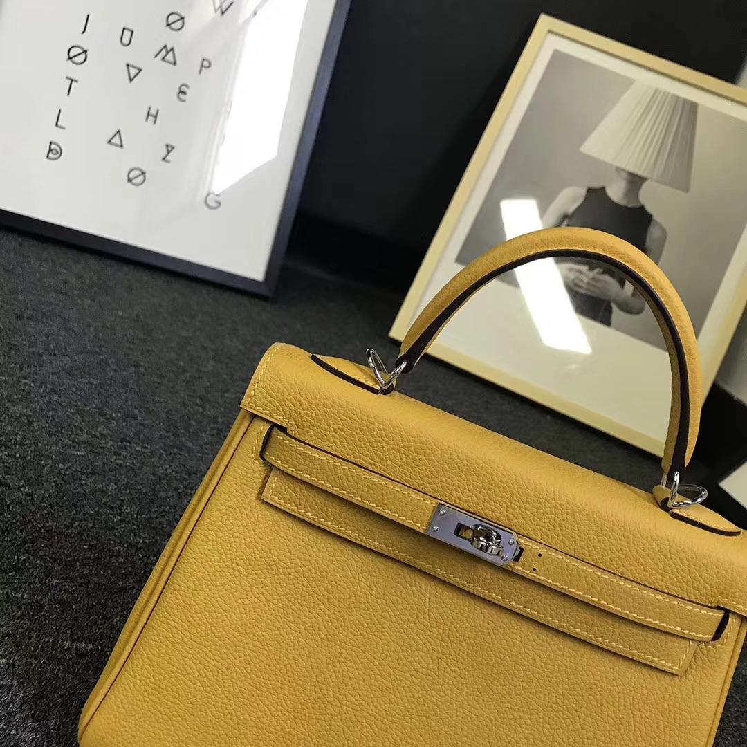 Hermès(爱马仕)9D琥珀黄 原厂御用顶级小牛皮 Kelly 25 银扣 现货