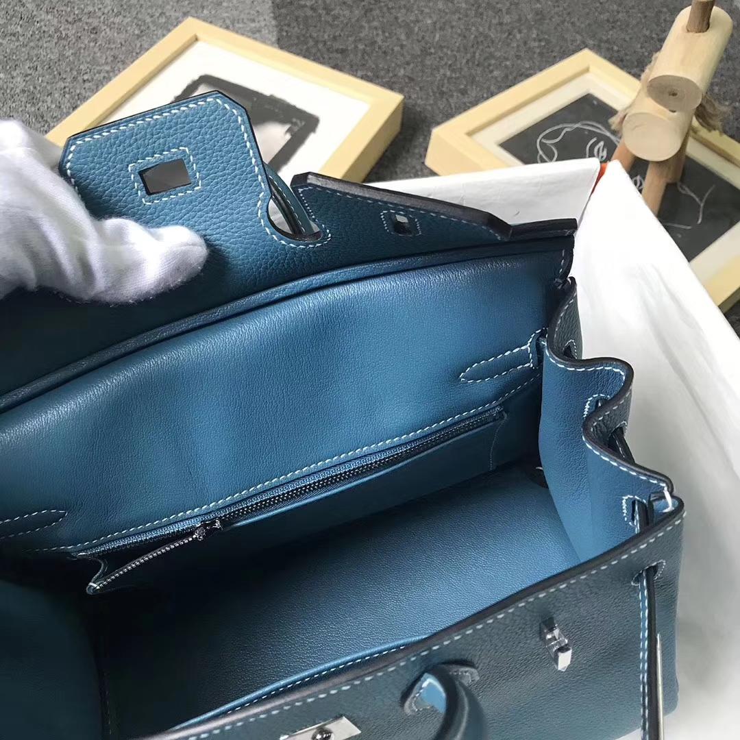 Hermès(爱马仕)牛仔蓝 原厂御用顶级小牛皮 Birkin 25 银扣 现货