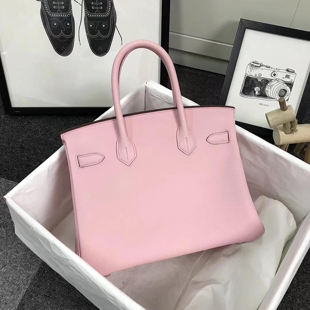 Hermès(爱马仕)3Q新樱花粉 原厂御用顶级小牛皮 Birkin 30 金扣