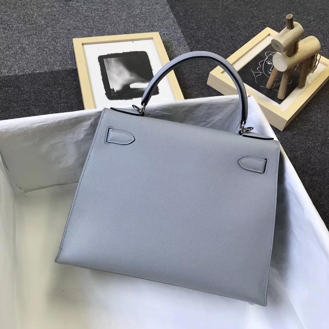 Hermès(爱马仕)4Z海鸥灰 原厂御用顶级Epsom 皮 Kelly 28 外缝 银扣