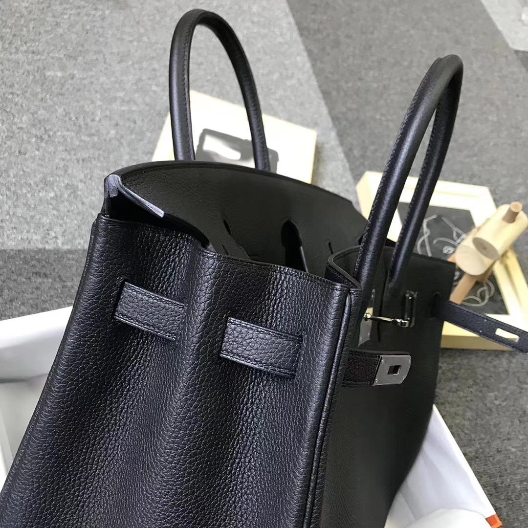 Hermès(爱马仕)黑色 原厂御用顶级小牛皮 Birkin 35 金扣 银扣 现货