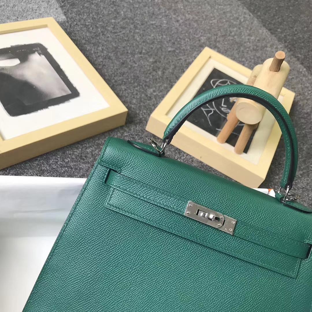 Hermès(爱马仕)U4 丝绒绿 原厂御用顶级Epsom 皮 Kelly 25 外缝 金扣