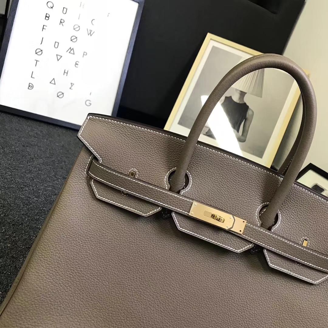 Hermès(爱马仕)大象灰 原厂御用顶级小牛皮 Birkin 35 金扣 银扣 现货