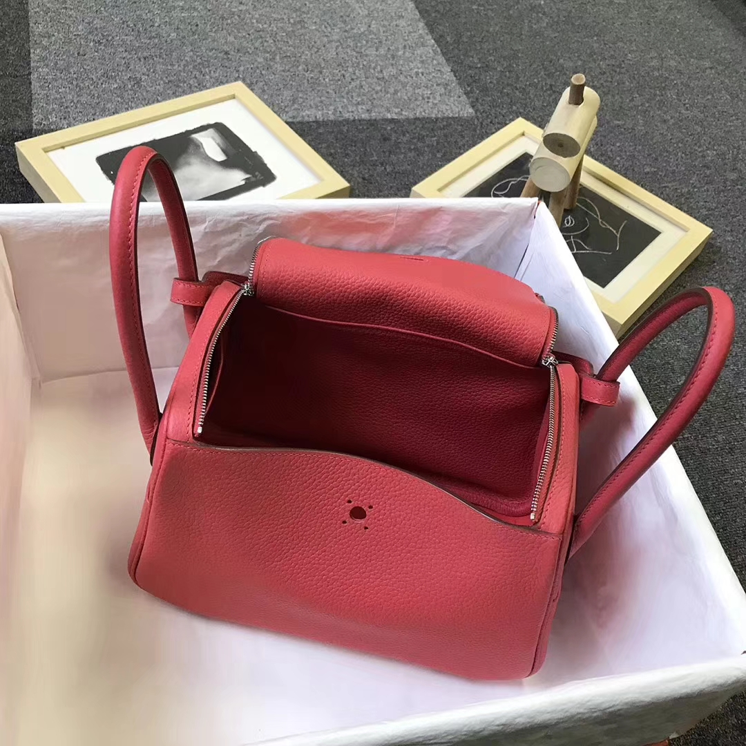 Hermès(爱马仕)T5 斋普尔粉 原厂御用顶级TC 皮 Lindy 26 银扣