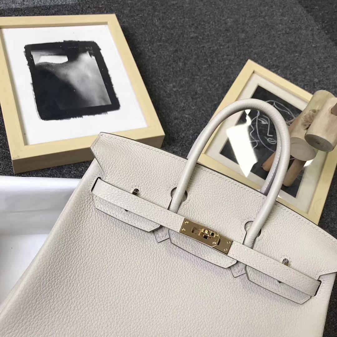 Hermès(爱马仕)奶昔白 原厂御用顶级小牛皮 Birkin 25 银扣 现货