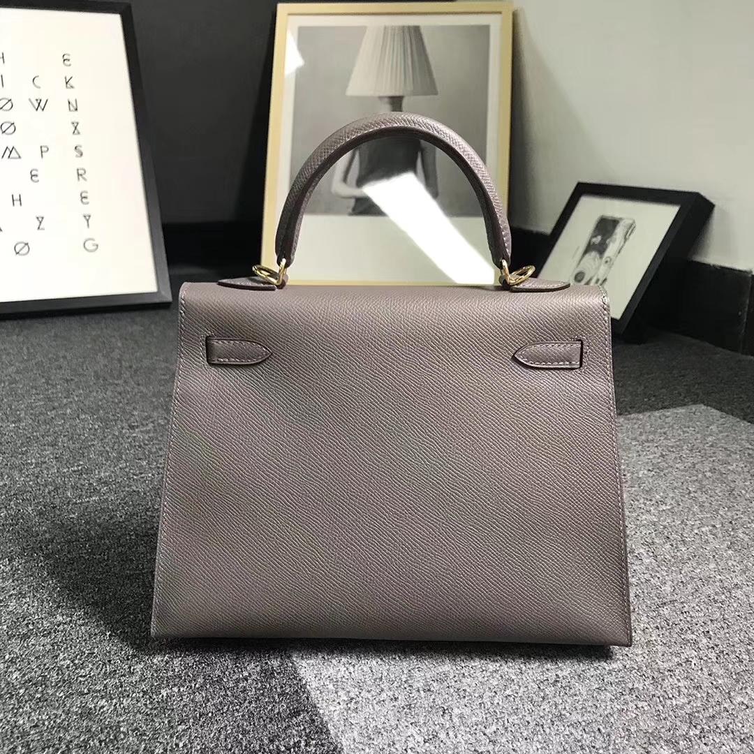 Hermès(爱马仕)8F 锡器灰 原厂御用顶级Epsom 皮 Kelly 25 外缝 金扣