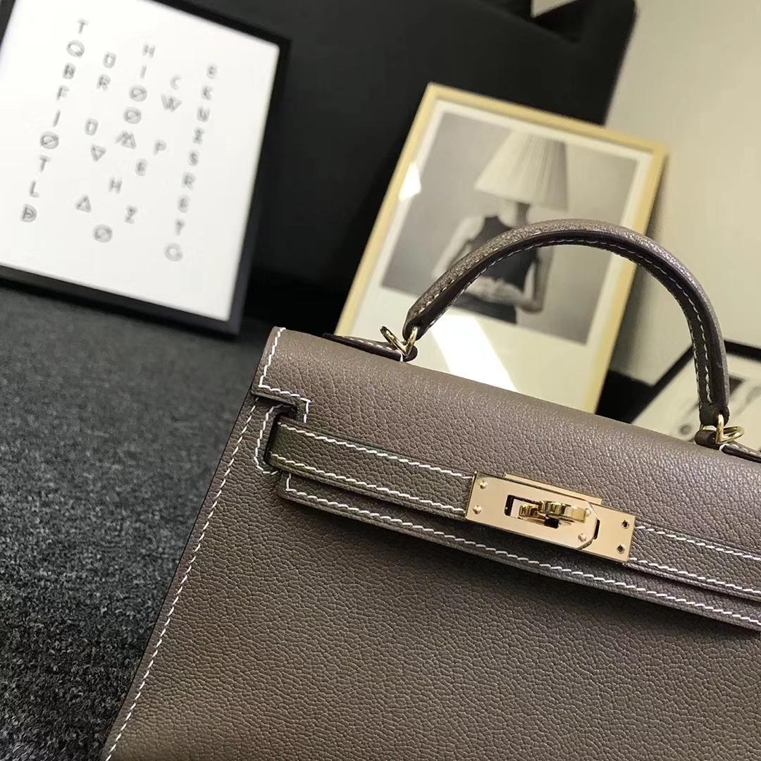 Hermès(爱马仕)大象灰 原厂御用顶级山羊皮 Mini Kelly 二代 金扣