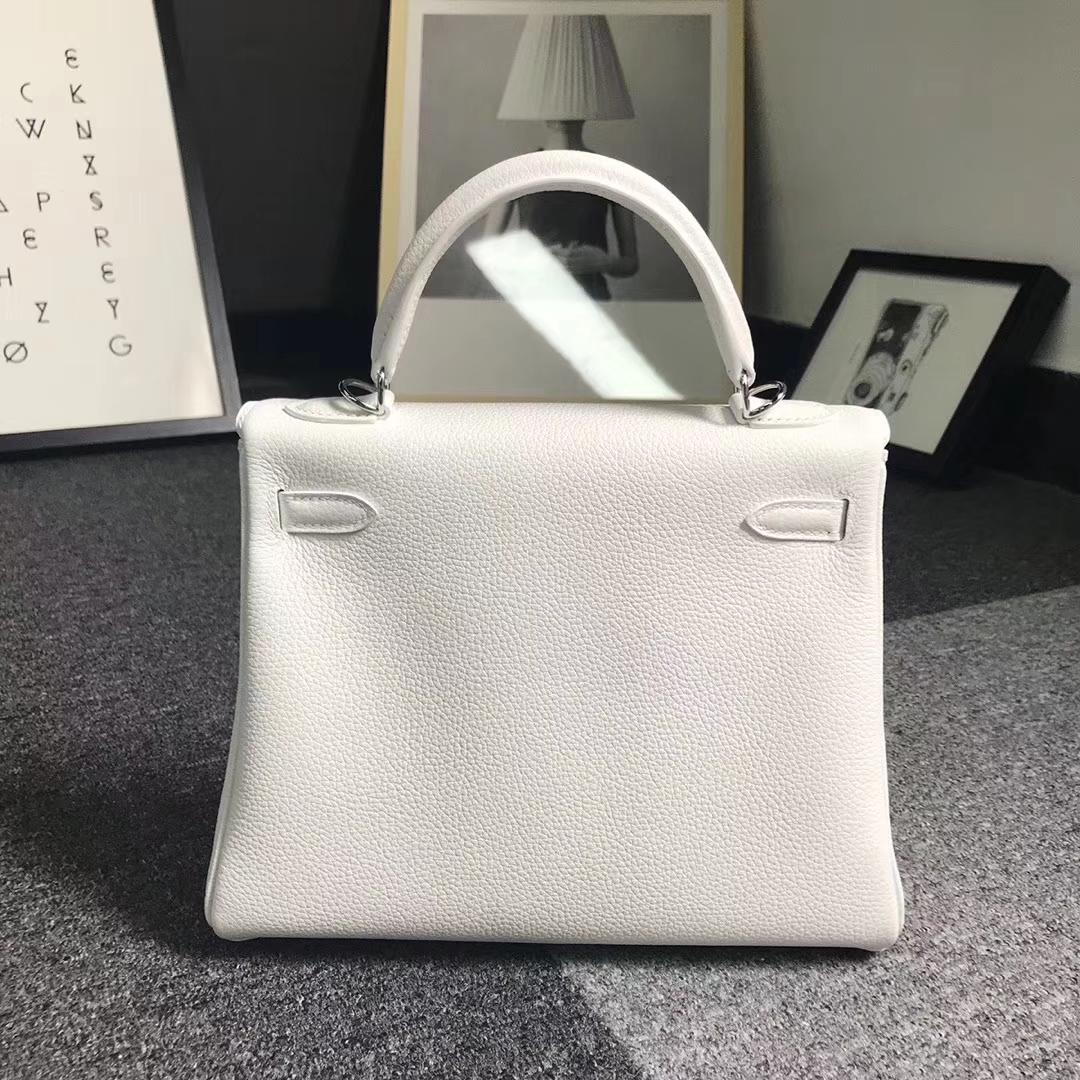 Hermès(爱马仕)纯白色 原厂御用顶级小牛皮 Kelly 25 银扣