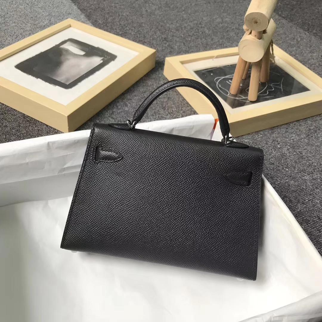 Hermès(爱马仕)黑色 原厂御用顶级Epsom 皮  Mini Kelly 二代 银扣 现货