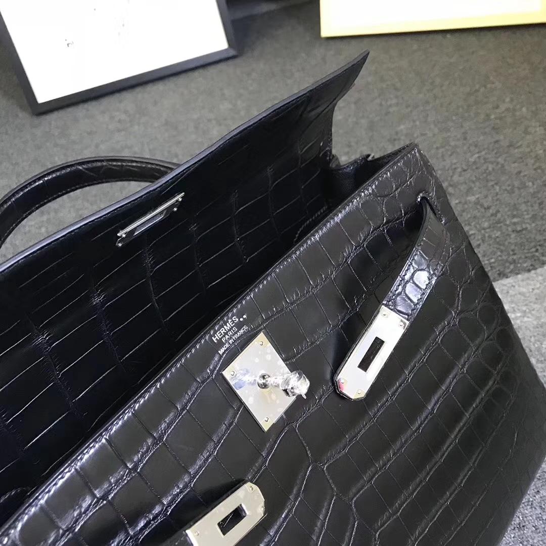 Hermès(爱马仕)黑色 原厂御用顶级鳄鱼皮 Kelly 35 内缝 银扣