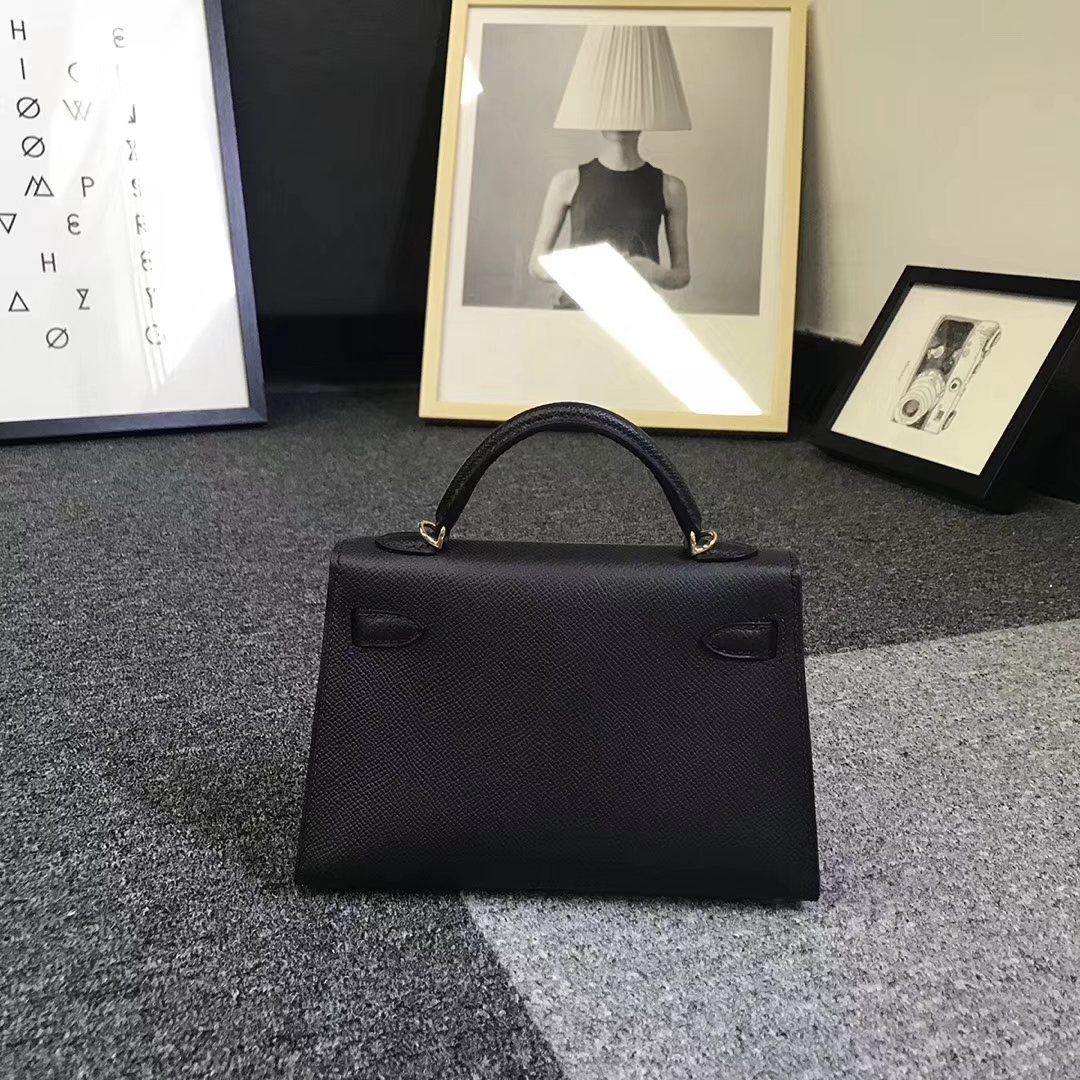 Hermès(爱马仕)黑色 原厂御用顶级Epsom 皮 Mini Kelly 二代 金扣 银扣 现货