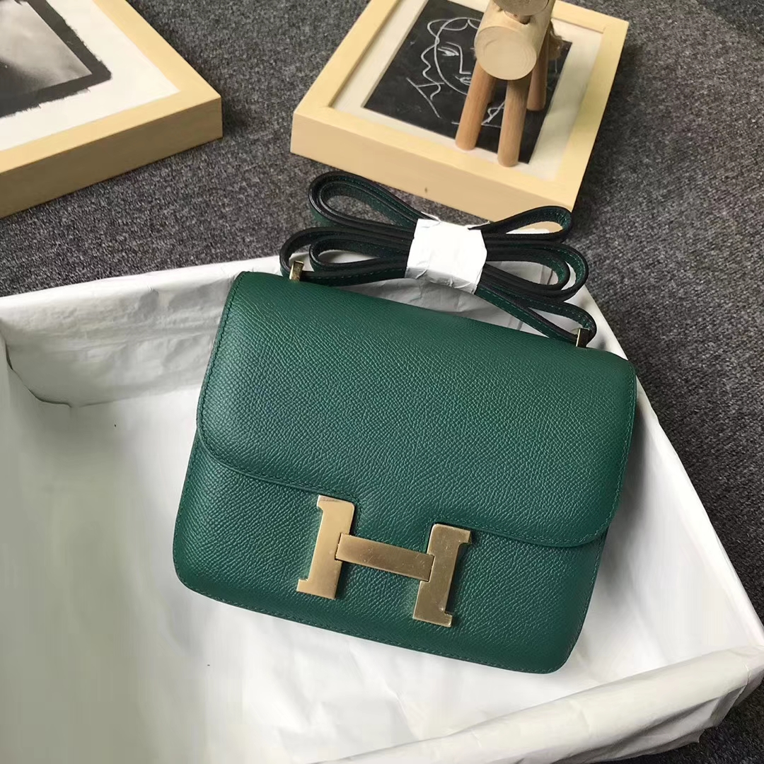Hermès(爱马仕)孔雀绿 原厂御用顶级Epsom 皮 Constance 19 金扣 现货