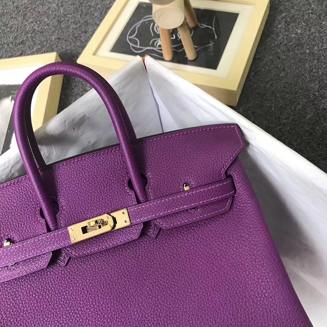 Hermès(爱马仕)P9 海葵紫 原厂御用顶级小牛皮 Birkin 25 金扣