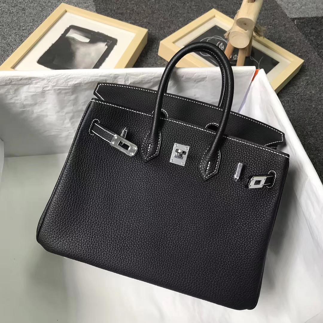 Hermès(爱马仕)黑色 走白色线 原厂御用顶级小牛皮 Birkin 25 银扣