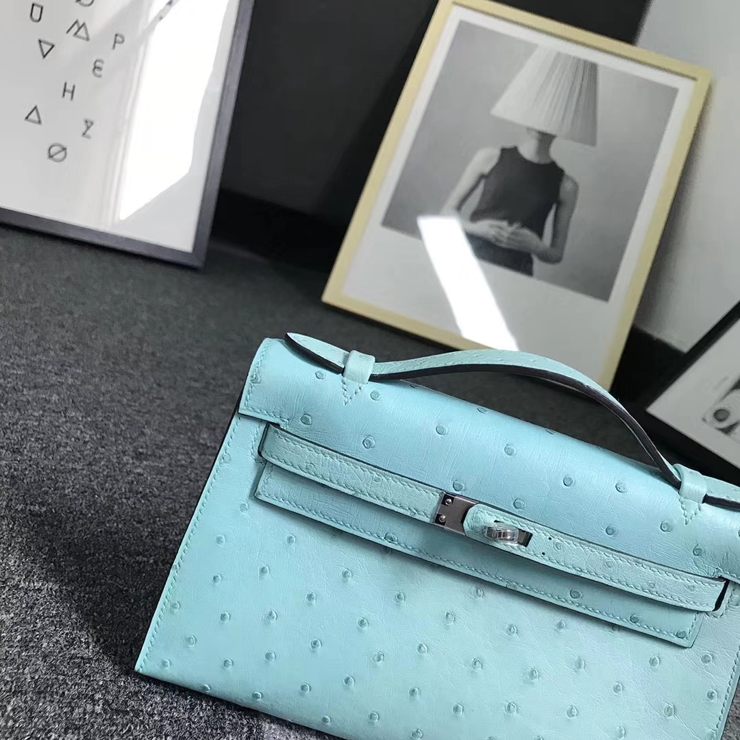Hermès(爱马仕)马卡龙蓝 原厂御用顶级鸵鸟皮 Mini Kelly
