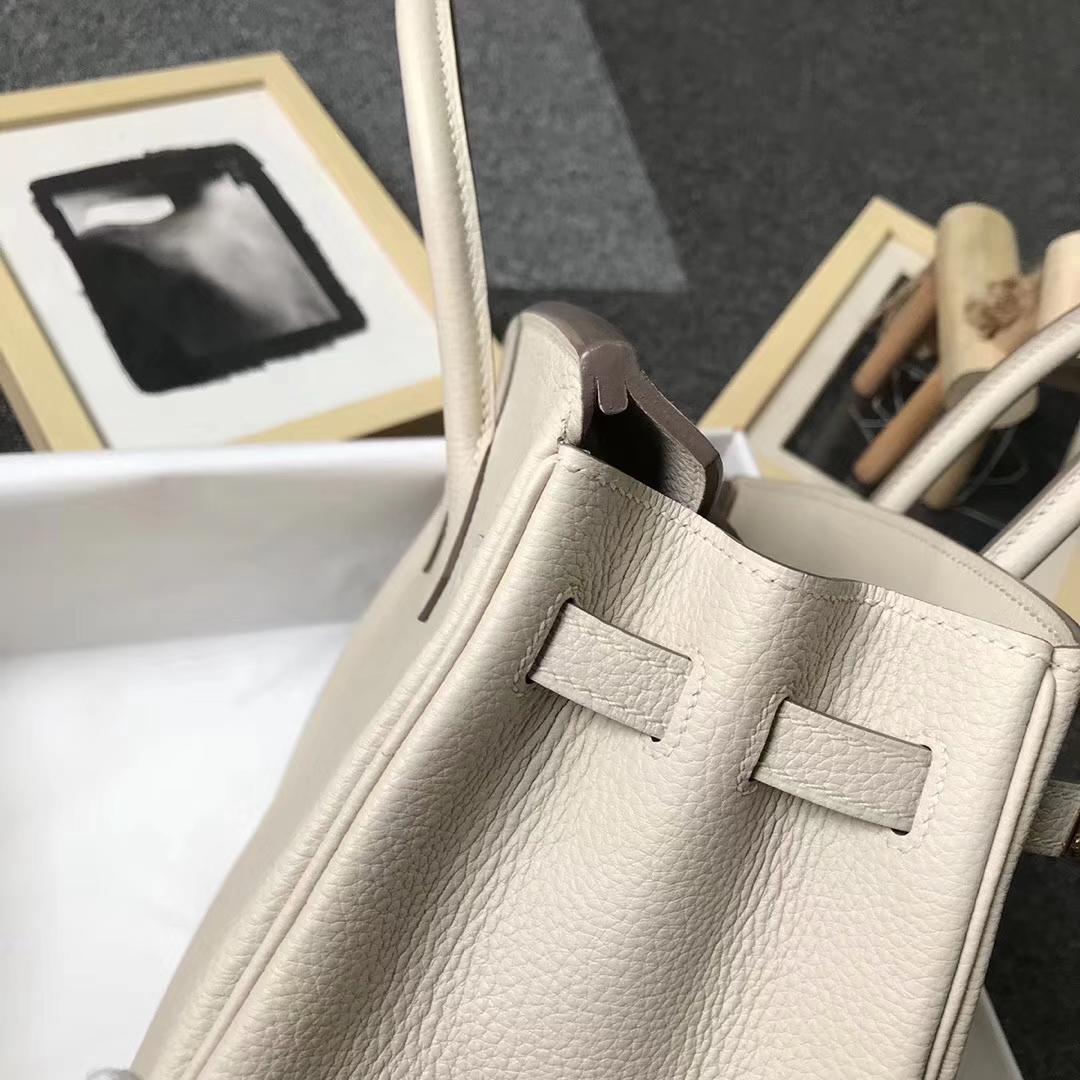 Hermès(爱马仕)奶昔白 原厂御用顶级小牛皮 Birkin 25 金扣 现货