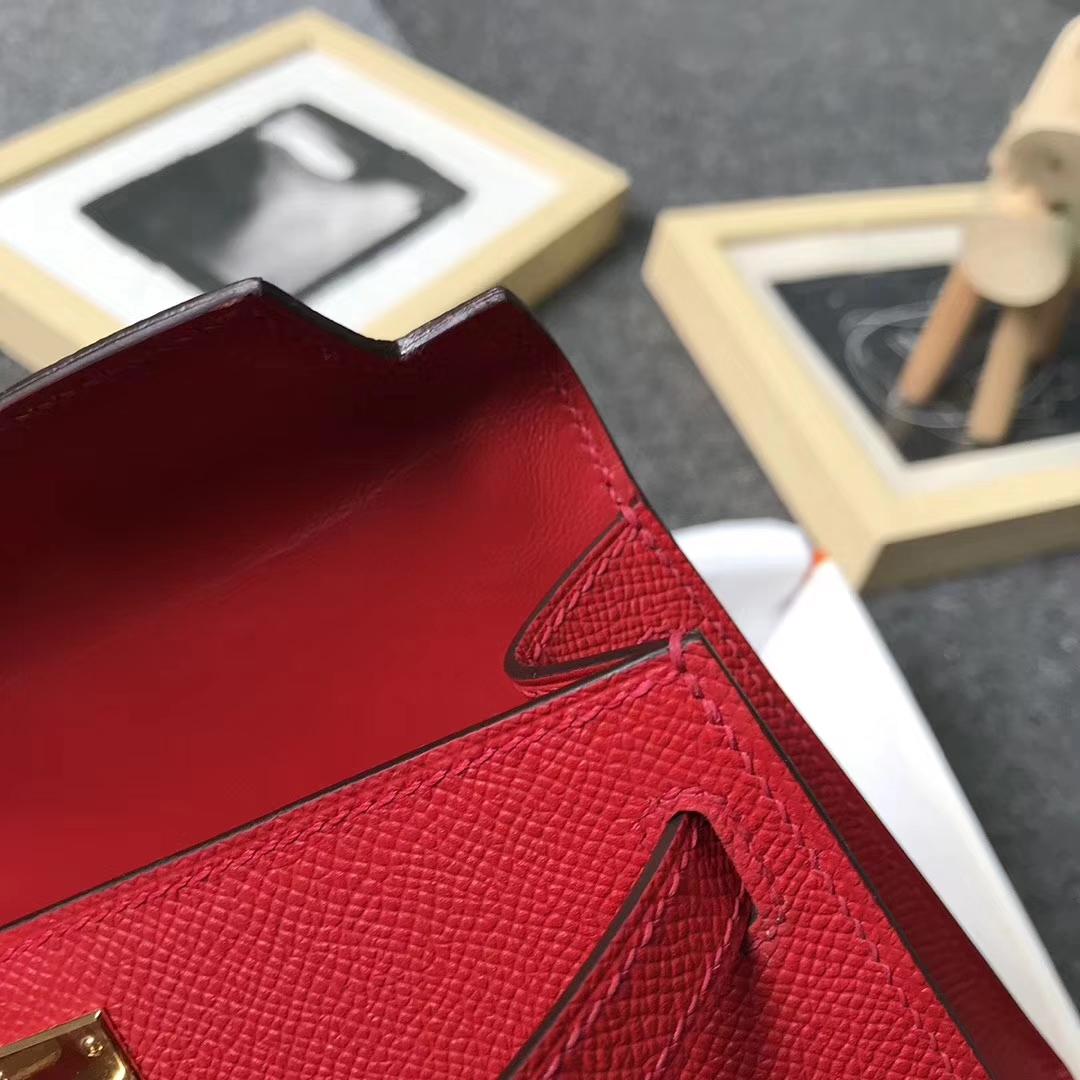 Hermès(爱马仕)中国红 糖果红 原厂御用顶级Epsom 皮  Mini Kelly 二代 金扣