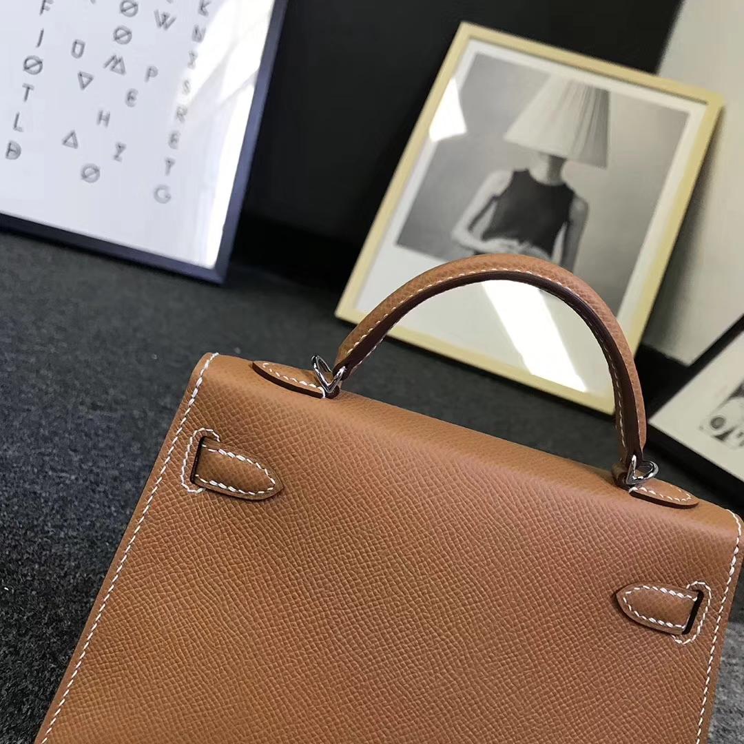 Hermès(爱马仕)金棕色 原厂御用顶级Epsom 皮  Mini Kelly 二代 金扣 现货 银扣