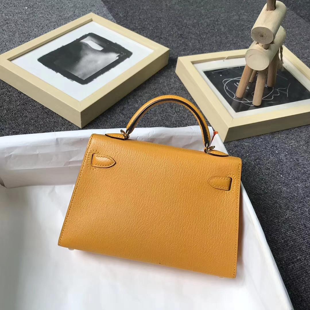 Hermès(爱马仕)芥末黄 原厂御用顶级山羊皮 Mini Kelly 二代 金扣 现货