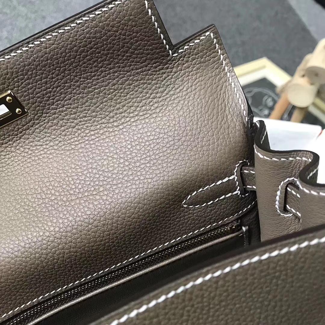 Hermès(爱马仕)CK18 大象灰 原厂御用顶级小牛皮 Kelly 25 金扣 银扣 现货