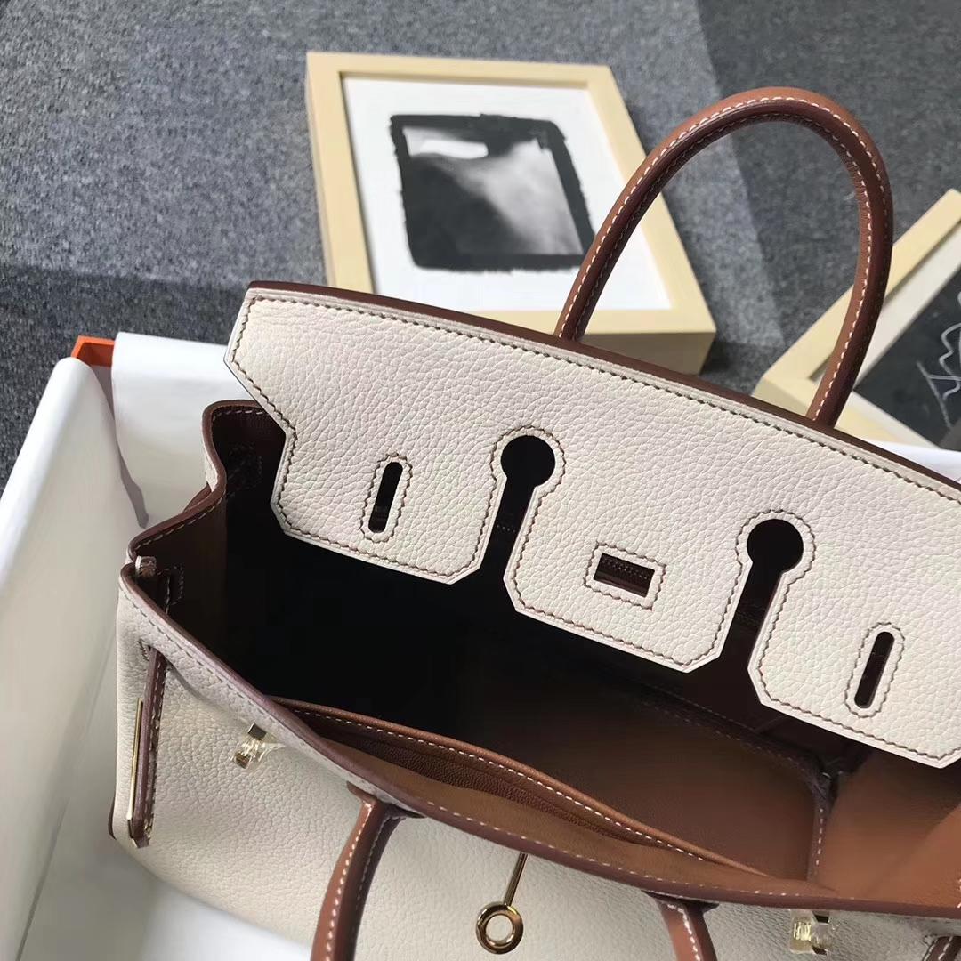 Hermès(爱马仕)奶昔白拼金棕色 原厂御用顶级小牛皮 Birkin 25 金扣