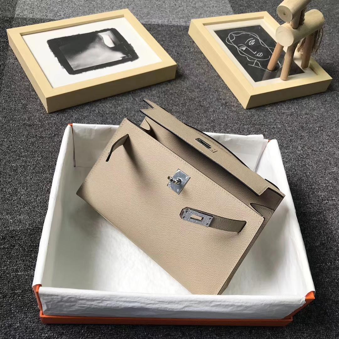 Hermès(爱马仕)S2 风衣灰 原厂御用顶级Epsom 皮 Mini Kelly 银扣