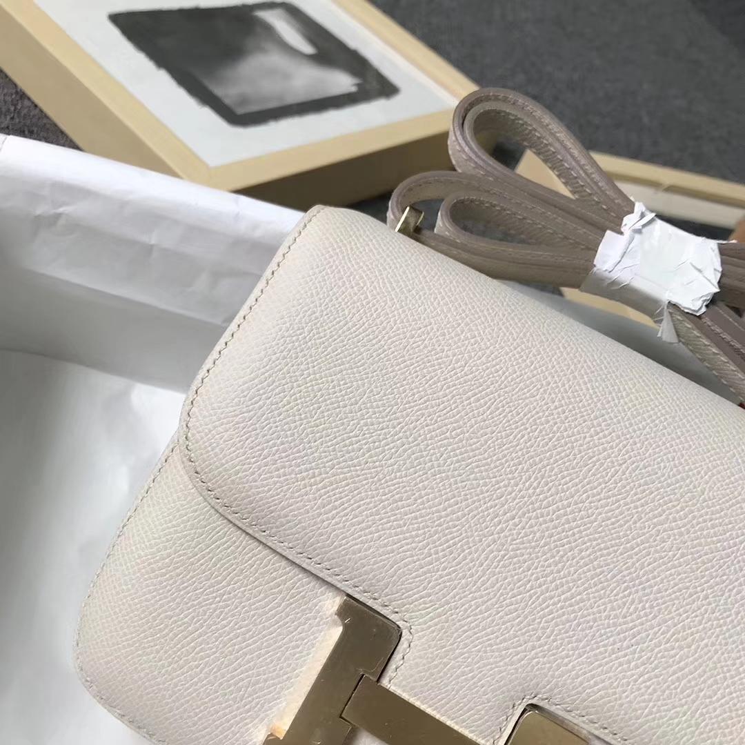Hermès(爱马仕)奶昔白 原厂御用顶级Epsom 皮 Constance 19 金扣 现货