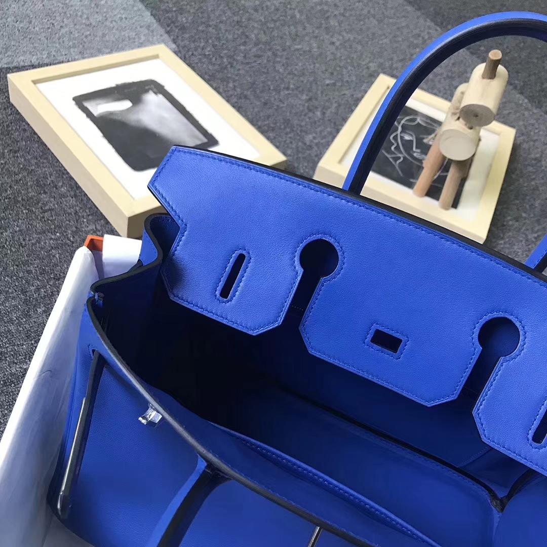 Hermès(爱马仕)7E明蓝色 原厂御用顶级Swift 皮 Birkin 30 银扣