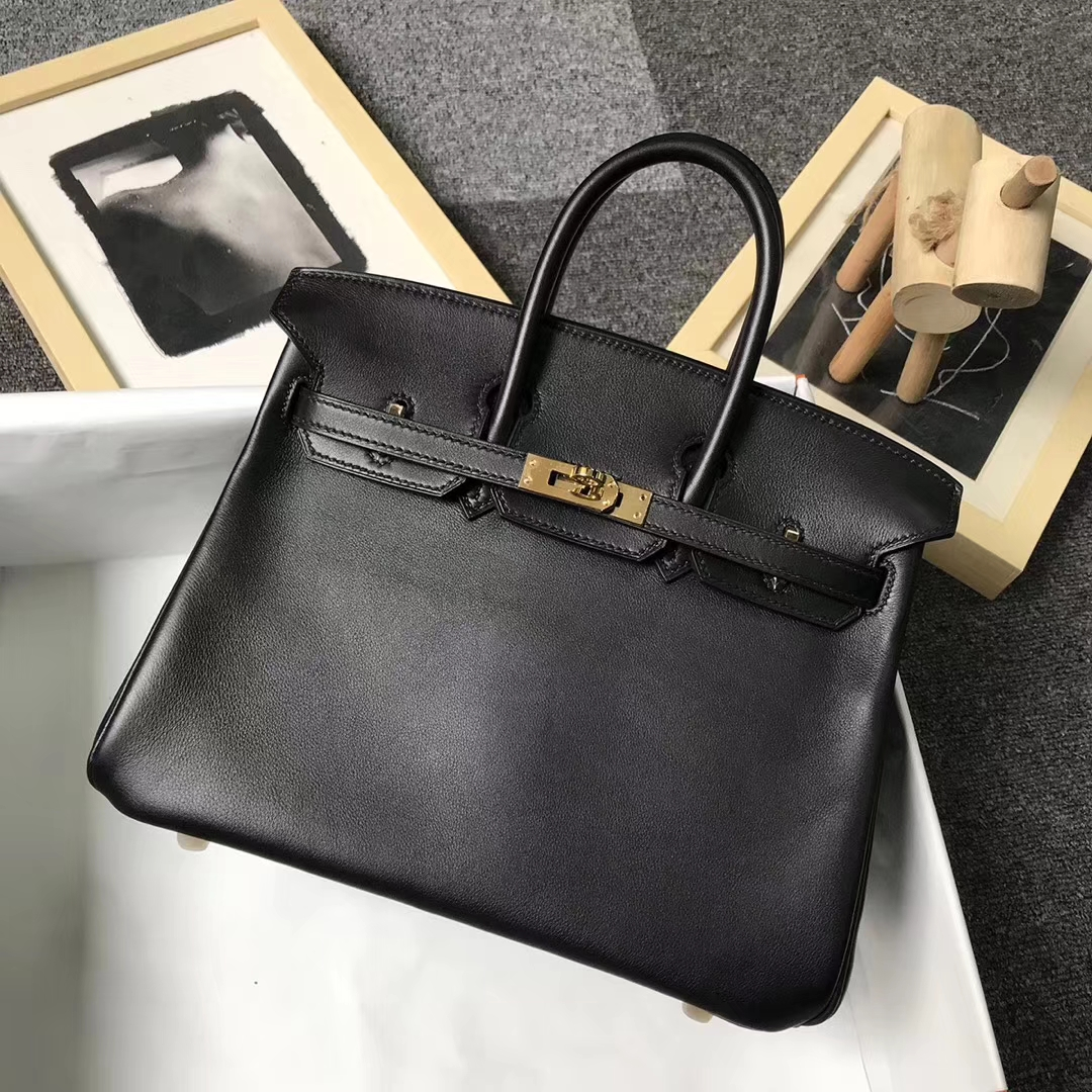 Hermès(爱马仕)CK89 黑色 原厂御用顶级Swift 皮 Birkin 25 金扣 现货
