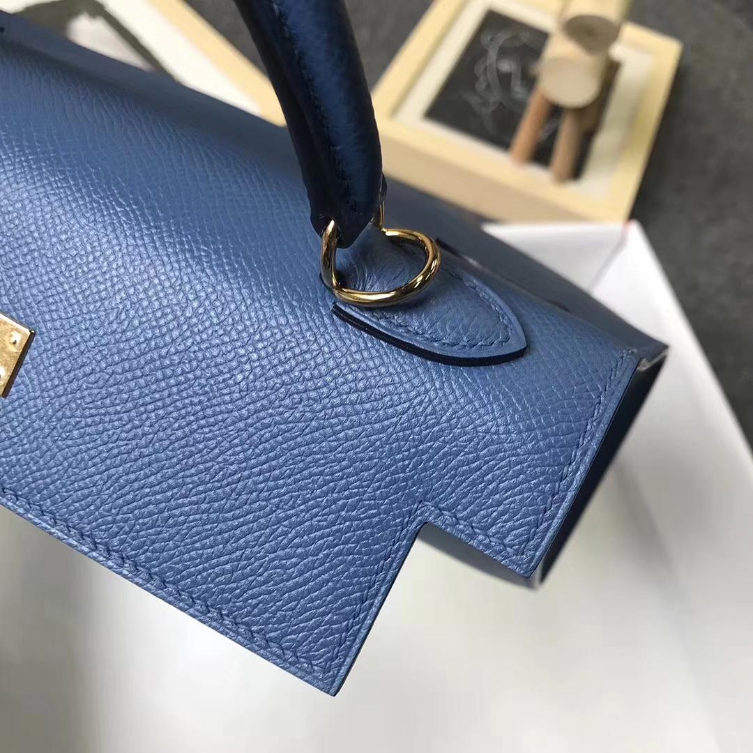 Hermès(爱马仕)R2 玛瑙蓝 原厂御用顶级Epsom 皮 Kelly 25 外缝 金扣
