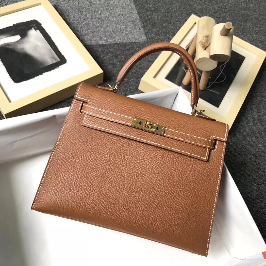 Hermès(爱马仕)金棕色 原厂御用顶级Epsom 皮 Kelly 25 外缝 金扣 现货