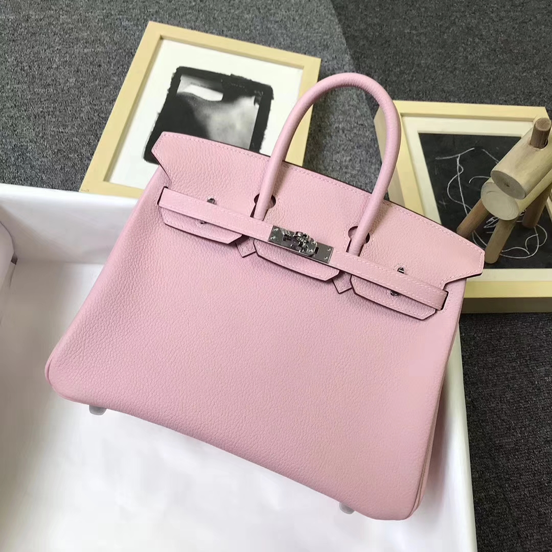 Hermès(爱马仕)3Q新樱花粉 原厂御用顶级小牛皮 Birkin 25 银扣 现货