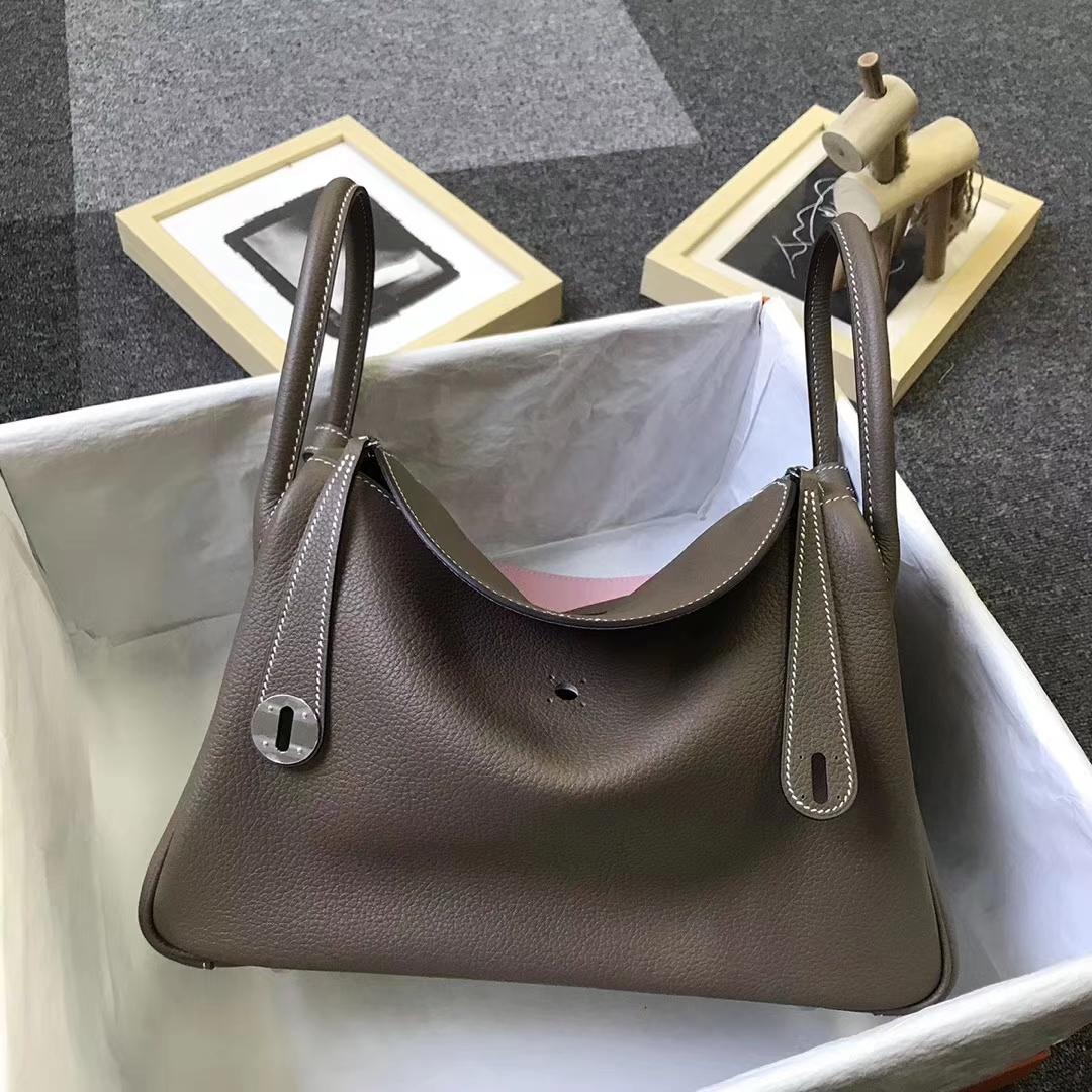 Hermès(爱马仕)大象灰拼3Q新樱花粉 原厂御用顶级小牛皮 Lindy 30 银扣
