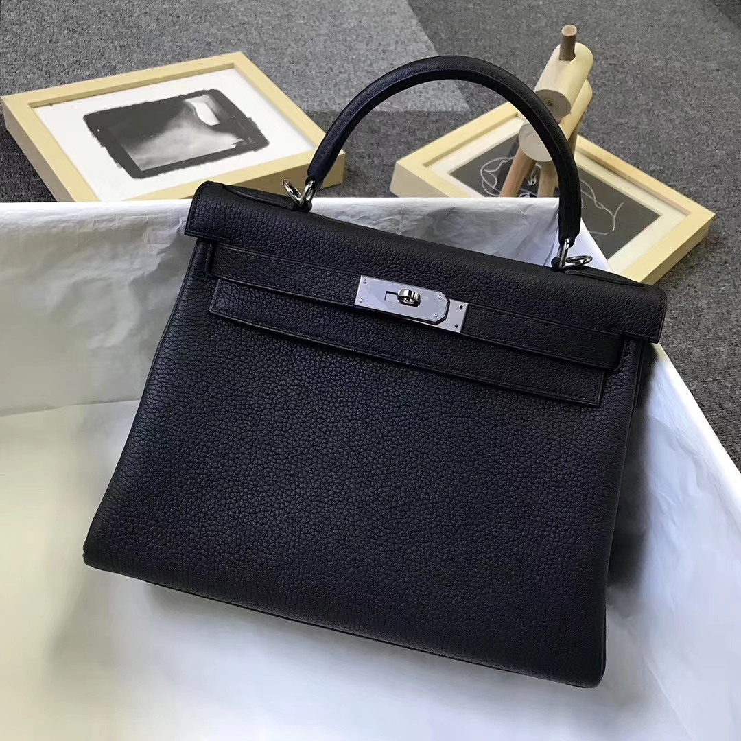 Hermès(爱马仕)黑色 原厂御用顶级小牛皮 Kelly 28 金扣 银扣 现货