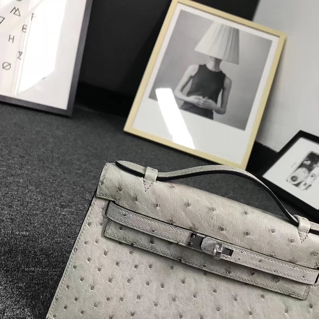Hermès(爱马仕)斑鸠灰 原厂御用顶级鸵鸟皮 Mini Kelly