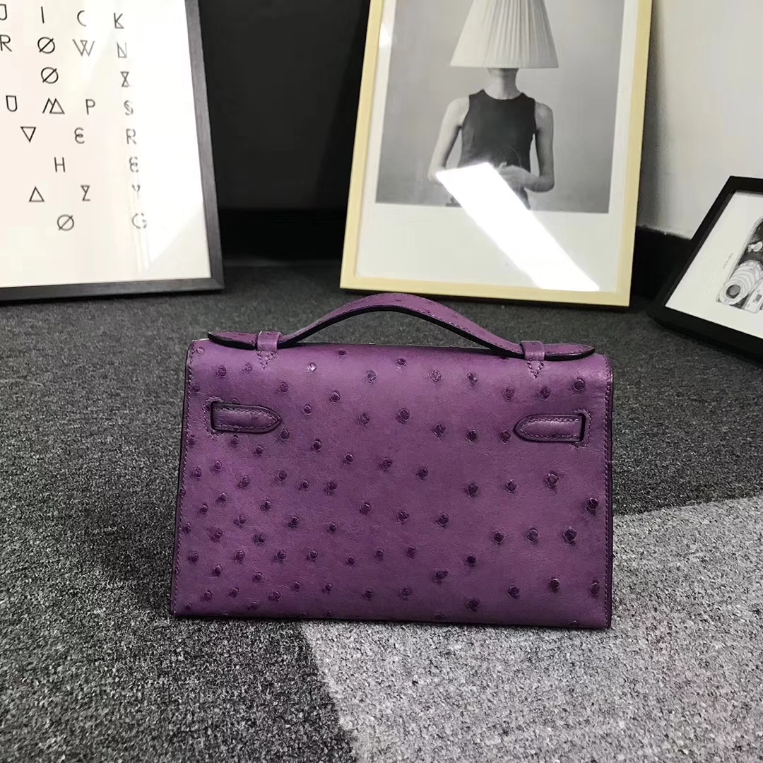 Hermès(爱马仕)紫色 原厂御用顶级鸵鸟皮 Mini Kelly