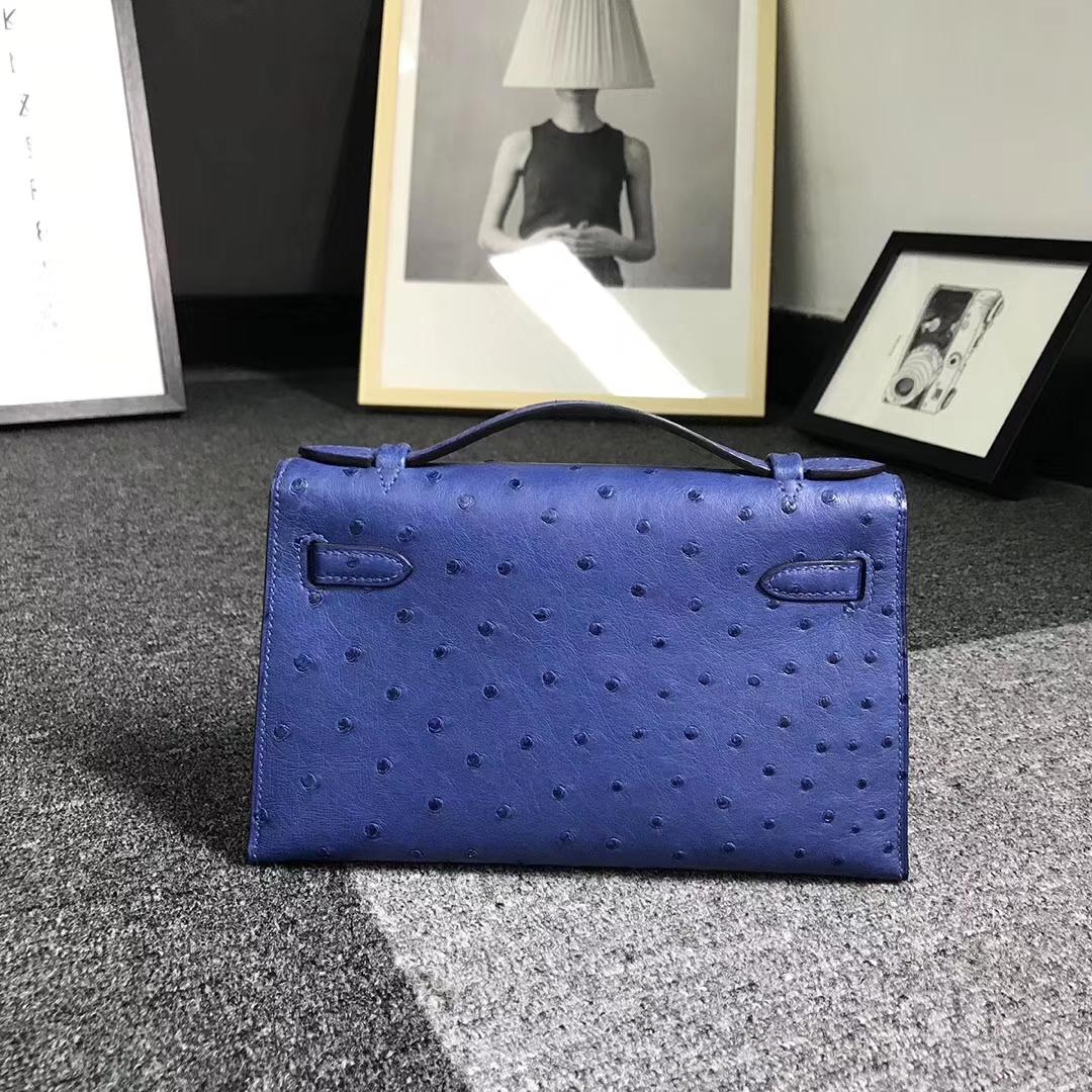 Hermès(爱马仕)电光蓝 原厂御用顶级鸵鸟皮 Mini Kelly