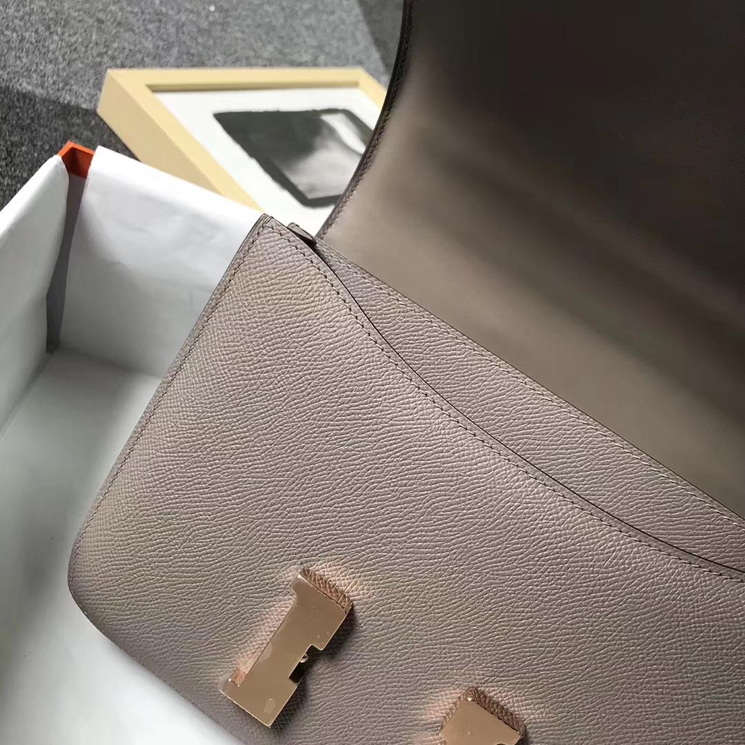 Hermès(爱马仕)M8 沥青灰 原厂御用顶级Epsom 皮 Constance 24 玫瑰金扣