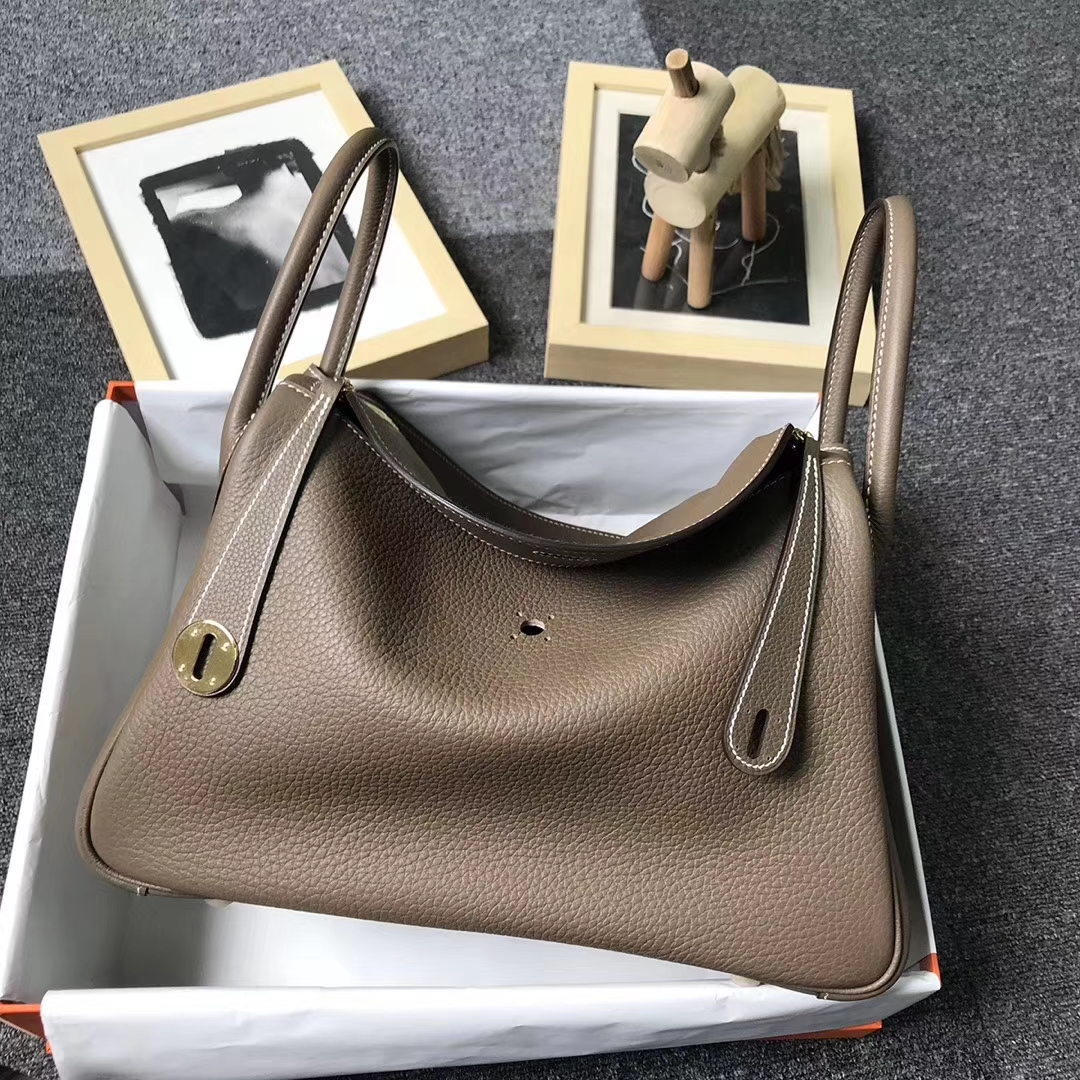 Hermès(爱马仕)CK18 大象灰 原厂御用顶级小牛皮 Lindy 30 金扣 现货