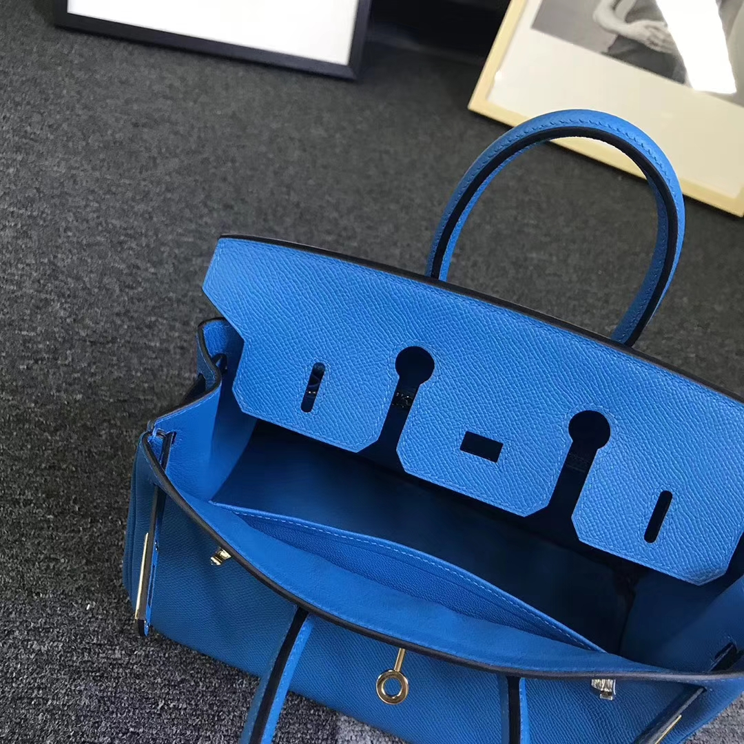 Hermès(爱马仕)B3 坦桑尼亚蓝 原厂御用顶级Epsom 皮 Birkin 25 金扣