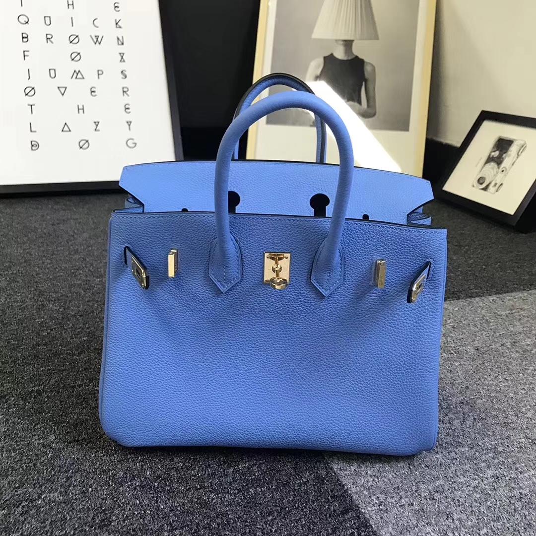 Hermès(爱马仕)2T 天堂蓝 原厂御用顶级小牛皮 Birkin 25 金扣