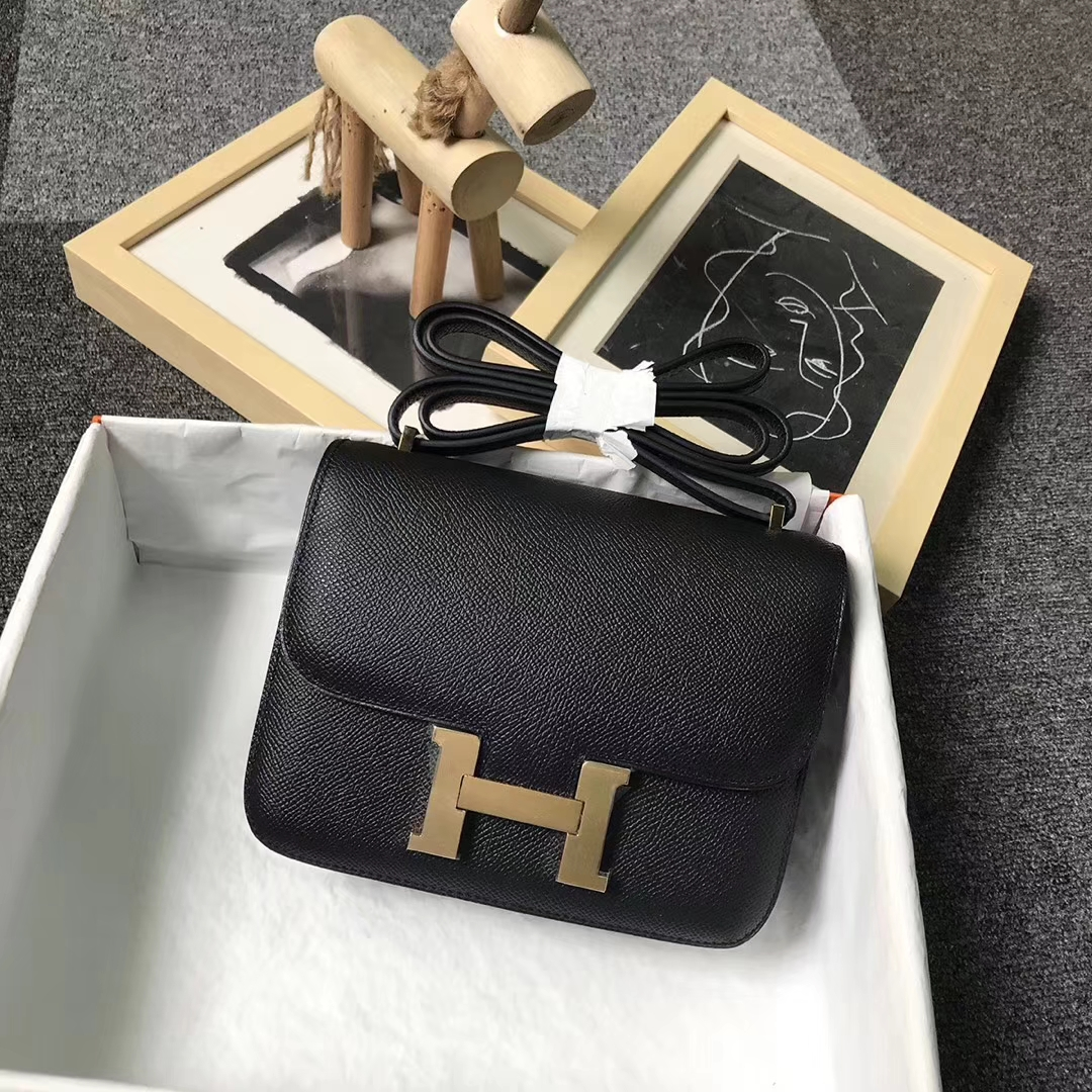 Hermès(爱马仕)CK89 黑色 原厂御用顶级Epsom 皮 Constance 19 金扣 银扣
