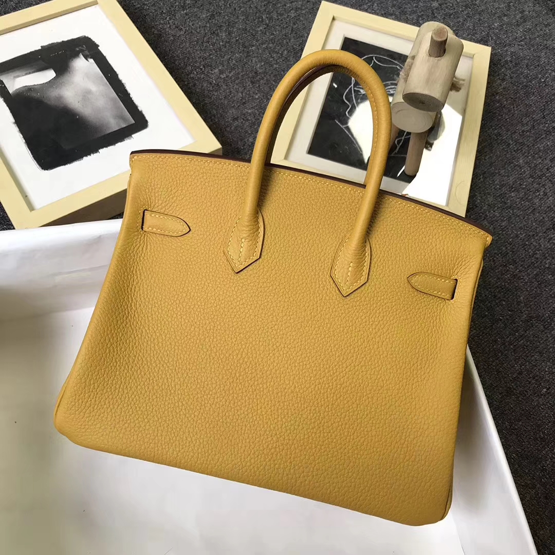 Hermès(爱马仕)9D琥珀黄 原厂御用顶级小牛皮 Birkin 25 金扣 现货