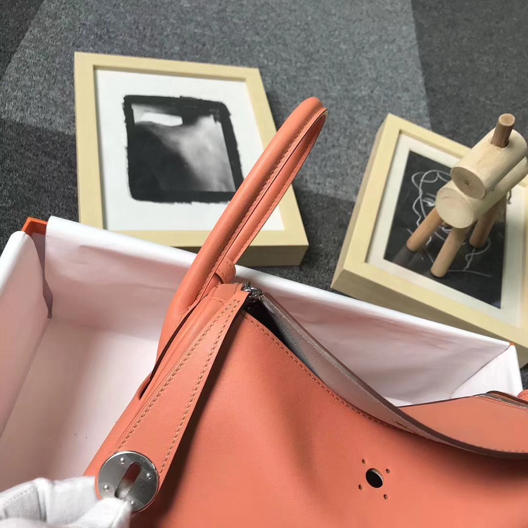 Hermès(爱马仕)L5 龙虾粉拼珍珠灰 原厂御用顶级Swift 皮 Lindy 26 银扣