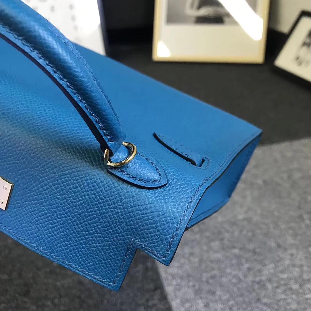Hermès(爱马仕)7W伊兹密尔蓝 原厂御用顶级Epsom 皮 Mini Kelly 二代 金扣