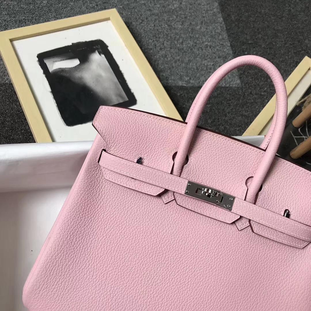 Hermès(爱马仕)3Q奶昔粉 原厂御用顶级小牛皮 Birkin 25 银扣 现货