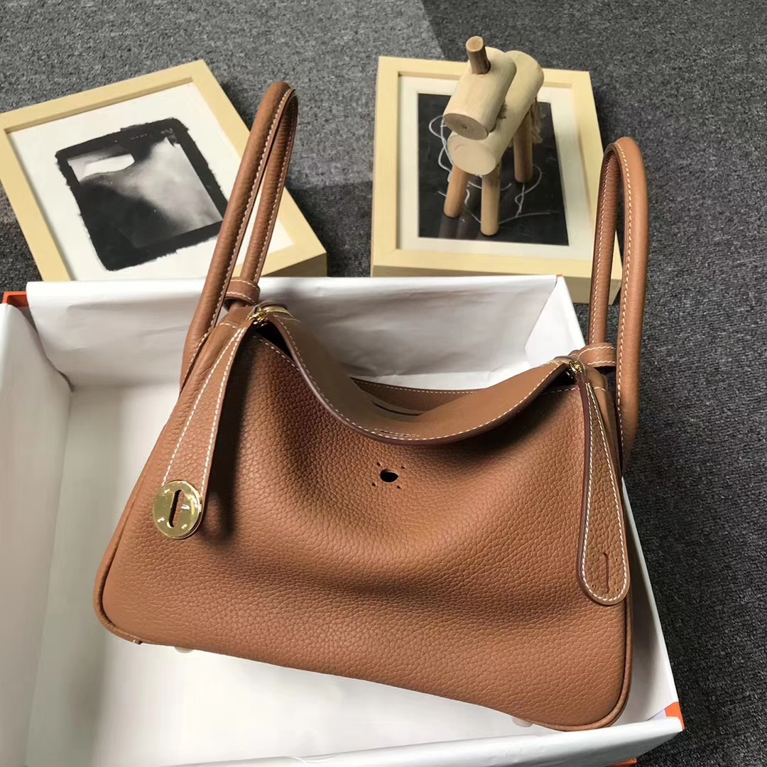Hermès(爱马仕)金棕色 原厂御用顶级TC 皮 Lindy 26 金扣 现货